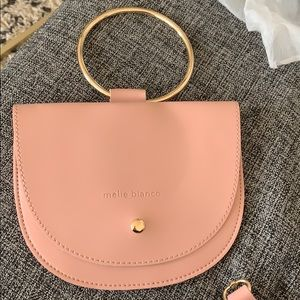 Melie Bianco pink leather mini bag w/ gold handle